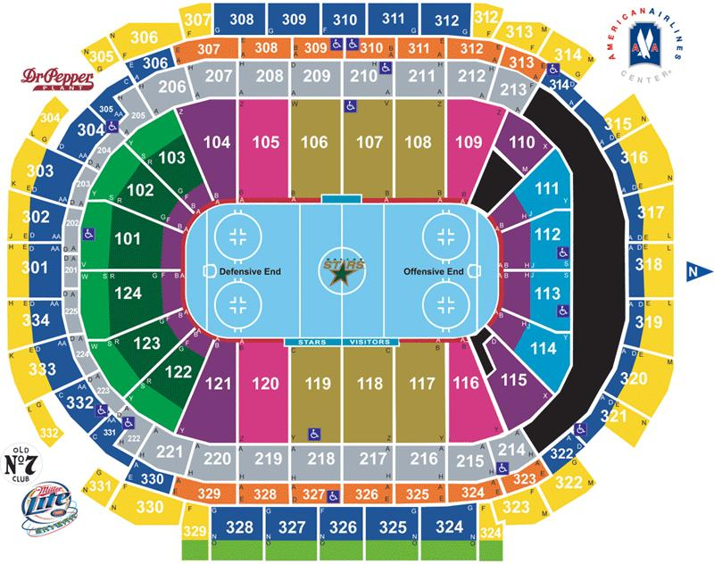 Dallas Stars Seating Map on